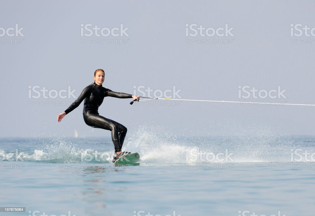 Young Girl Wakeboarding at the Cote D'Azur royalty-free stock photo