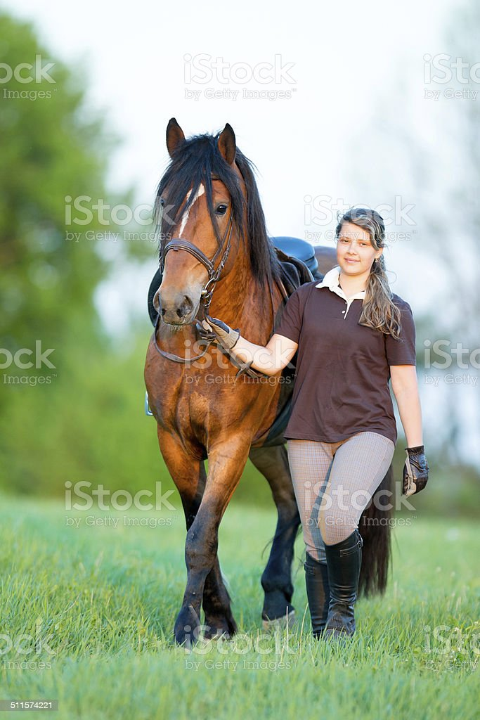 Young girl walking with a horse in the field stock photo
