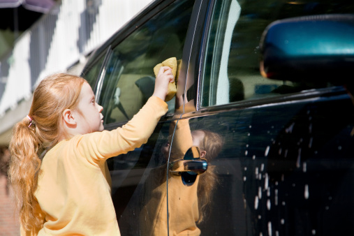 Young Girl Washing A Car Stock Photo - Download Image Now