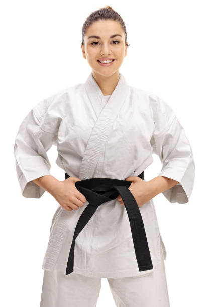 Young girl wearing a kimono with a black belt stock photo