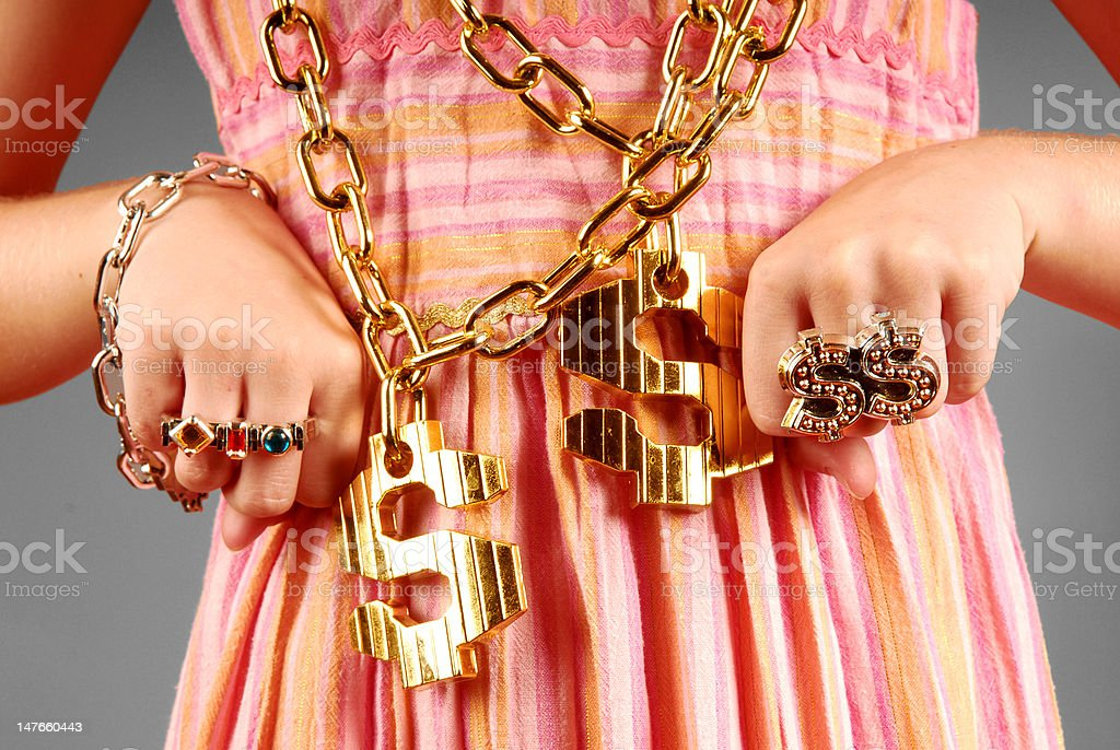 Young Girl Wearing Hiphop Jewelry royalty-free stock photo