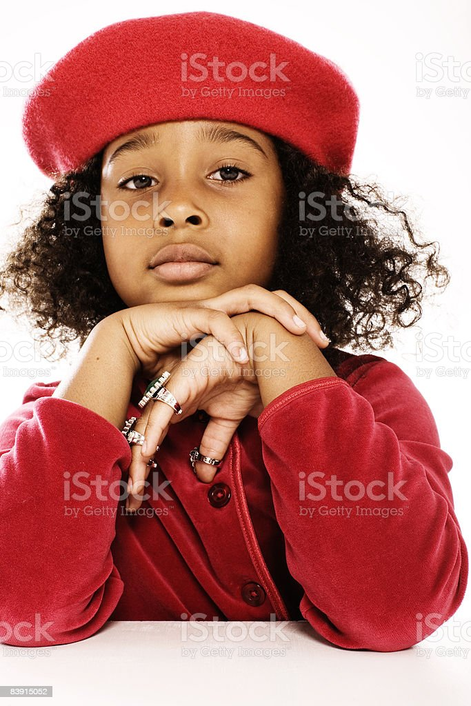 e3f5b8e9d47 Young Girl Wearing Red Beret Stock Photo   More Pictures of 6-7 ...