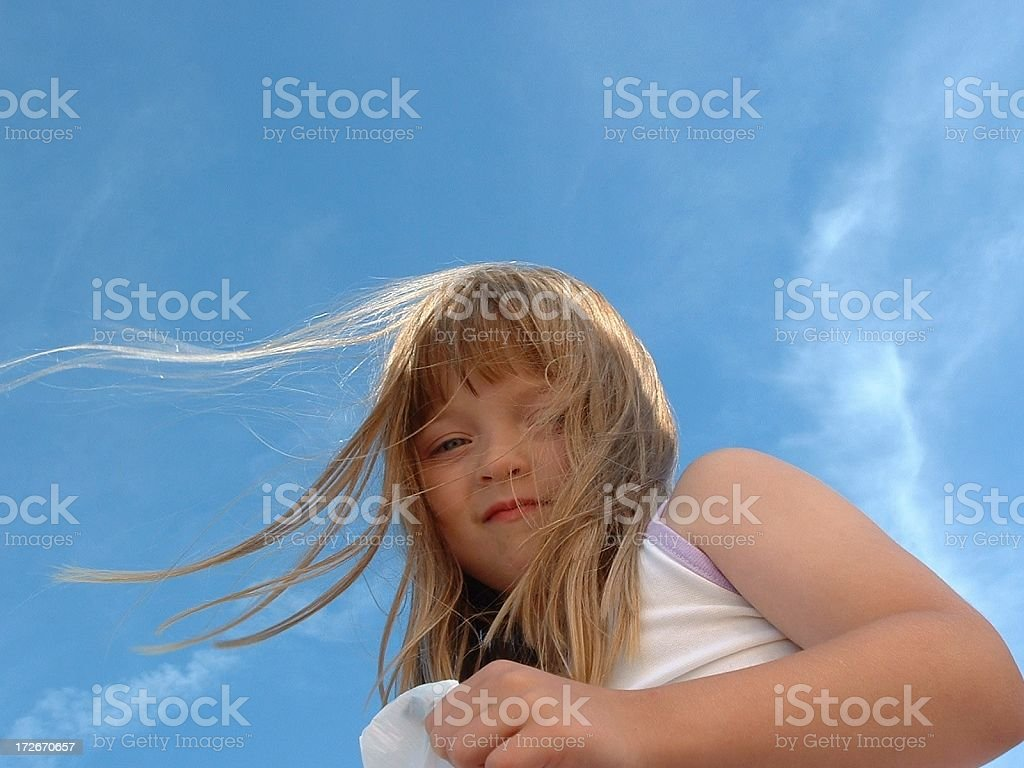 Young Girl Wind Blown Hair royalty-free stock photo