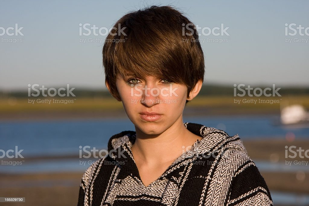Young girl with a lot on her mind stock photo