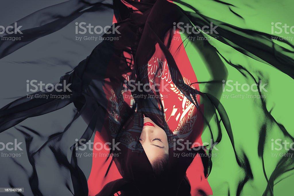Young girl with Afghan Flag stock photo