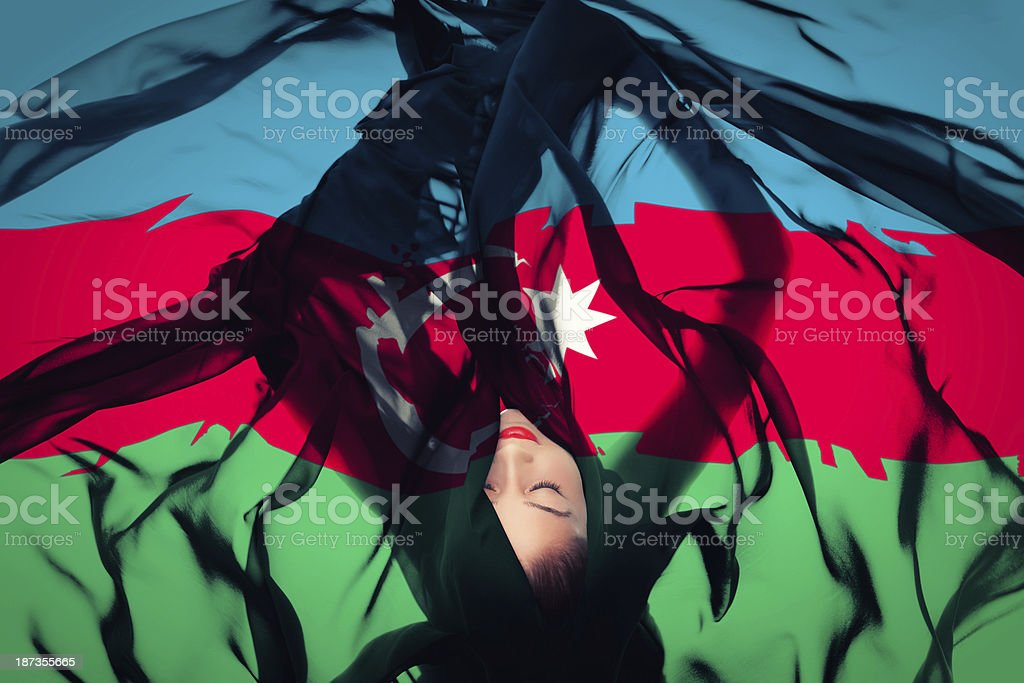 Young girl with Azerbaijani Flag stock photo