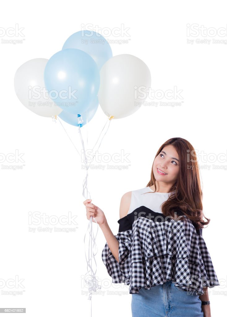 Young girl with balloons on a white background. royalty-free stock photo