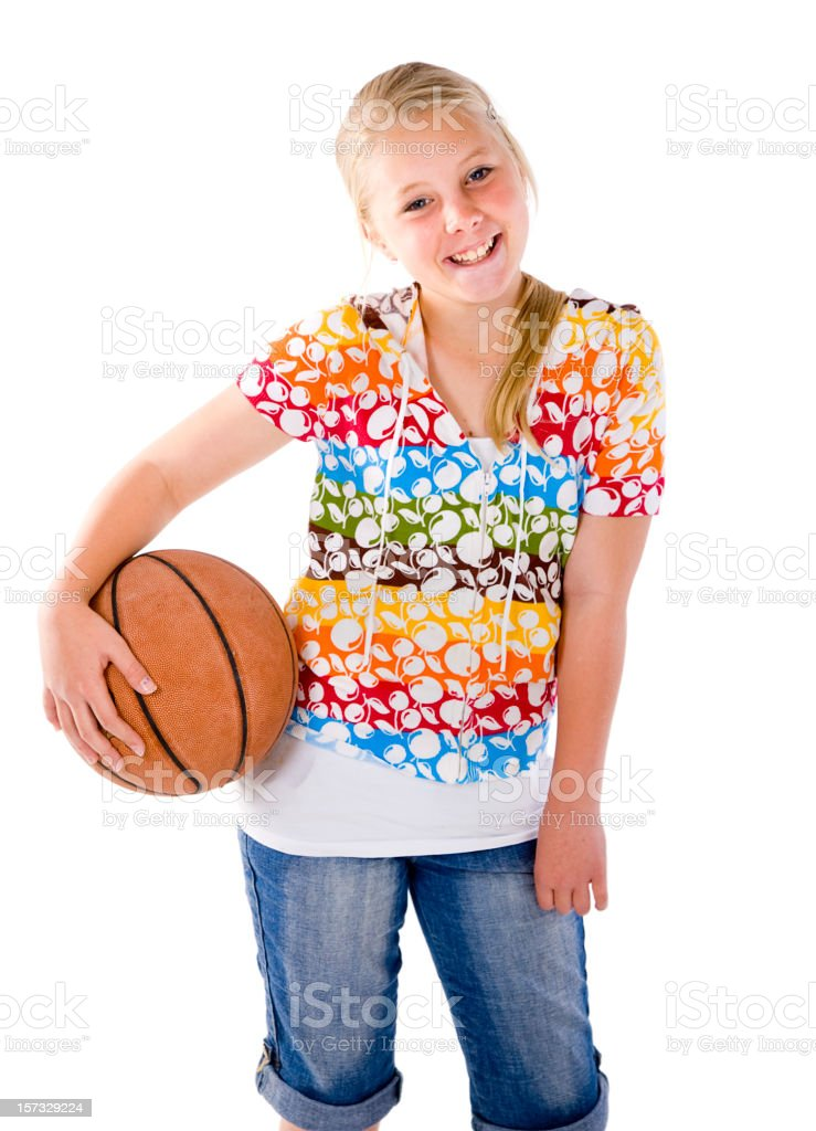 Young Girl with Basketball royalty-free stock photo