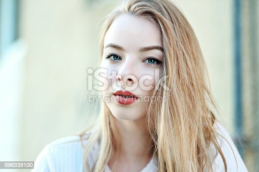 Young Girl With Beautiful Blue Eyes Stock Photo & More Pictures of Adult