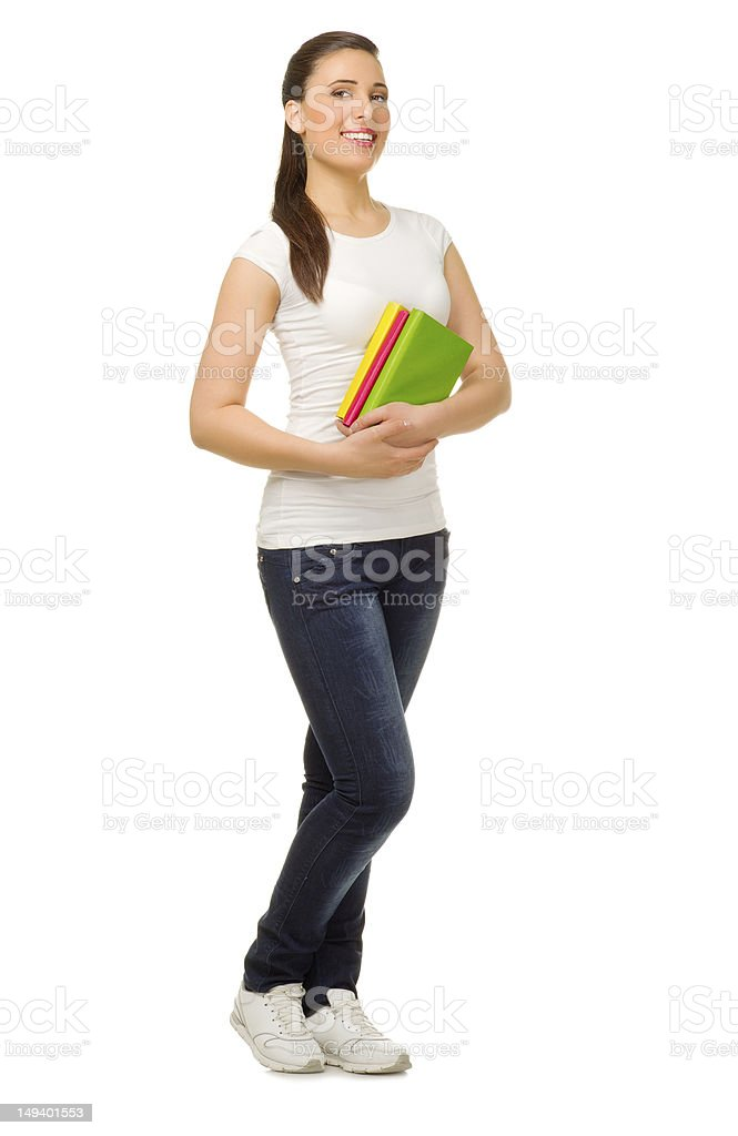 Young girl with books royalty-free stock photo