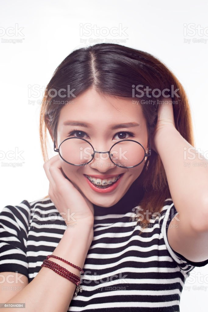 Young girl with braces stock photo