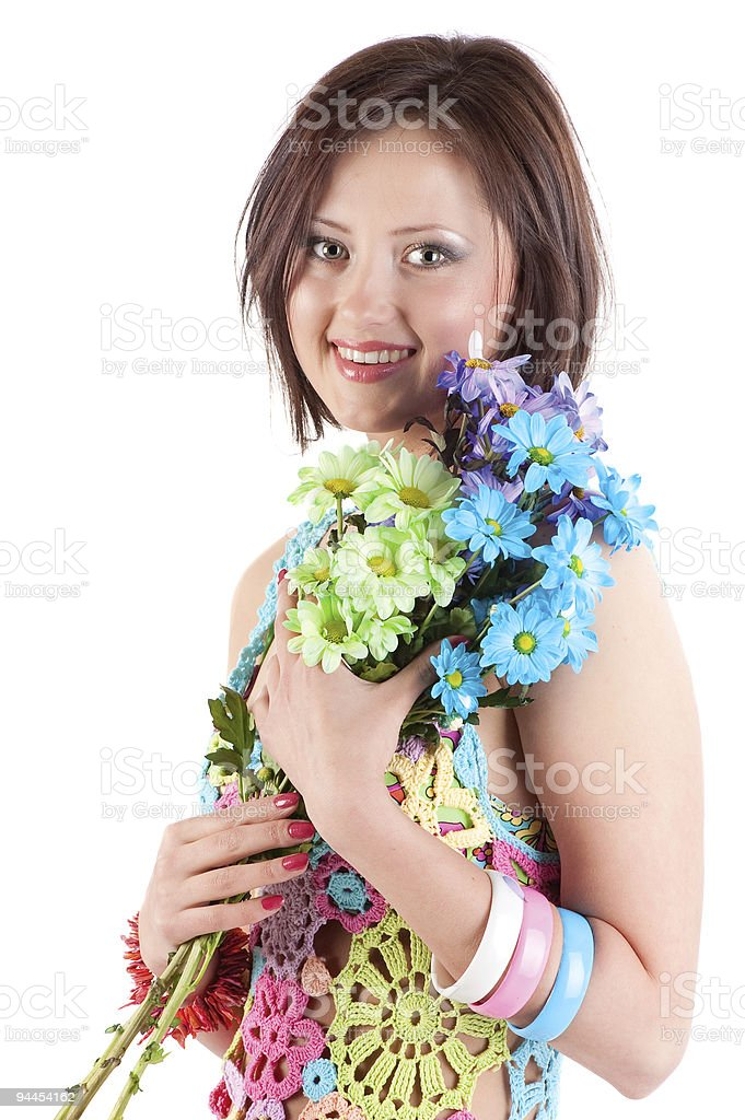 Young girl with camomiles . royalty-free stock photo