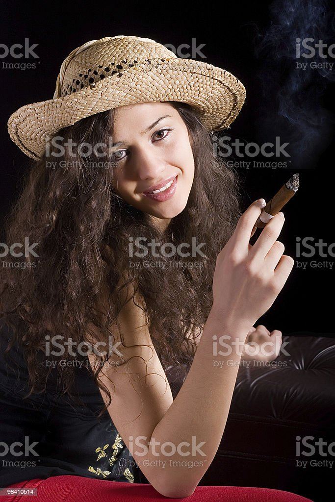 Young girl with cigar royalty-free stock photo