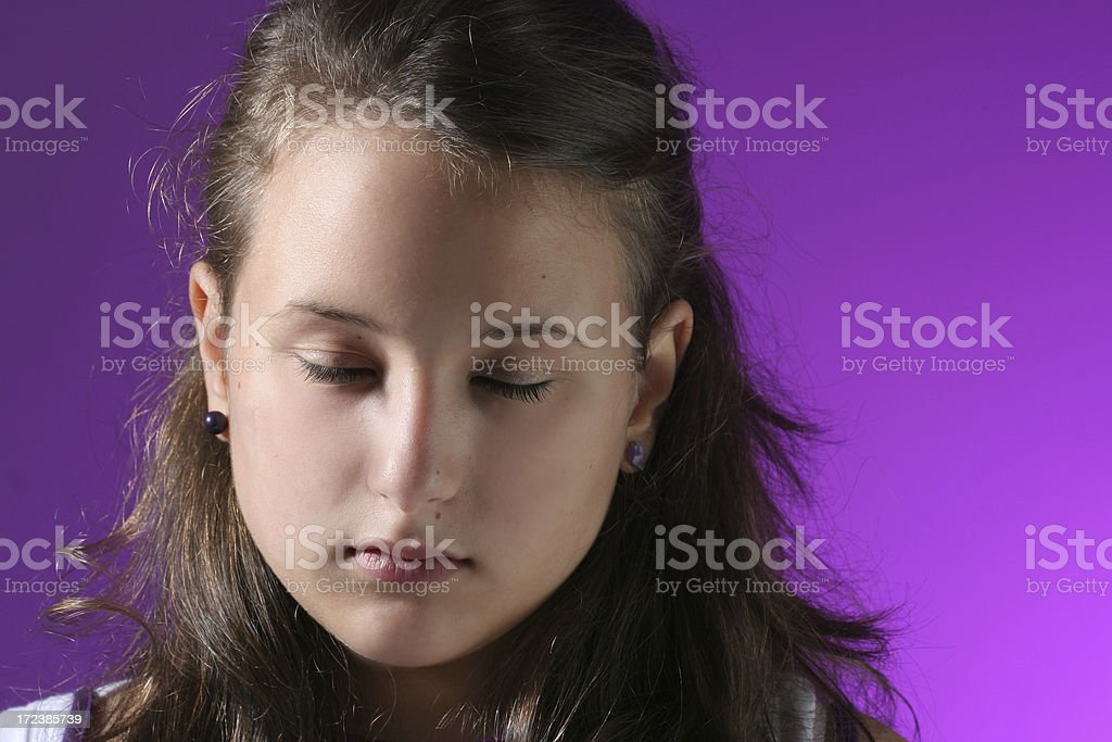 young girl with closed eyes royalty-free stock photo