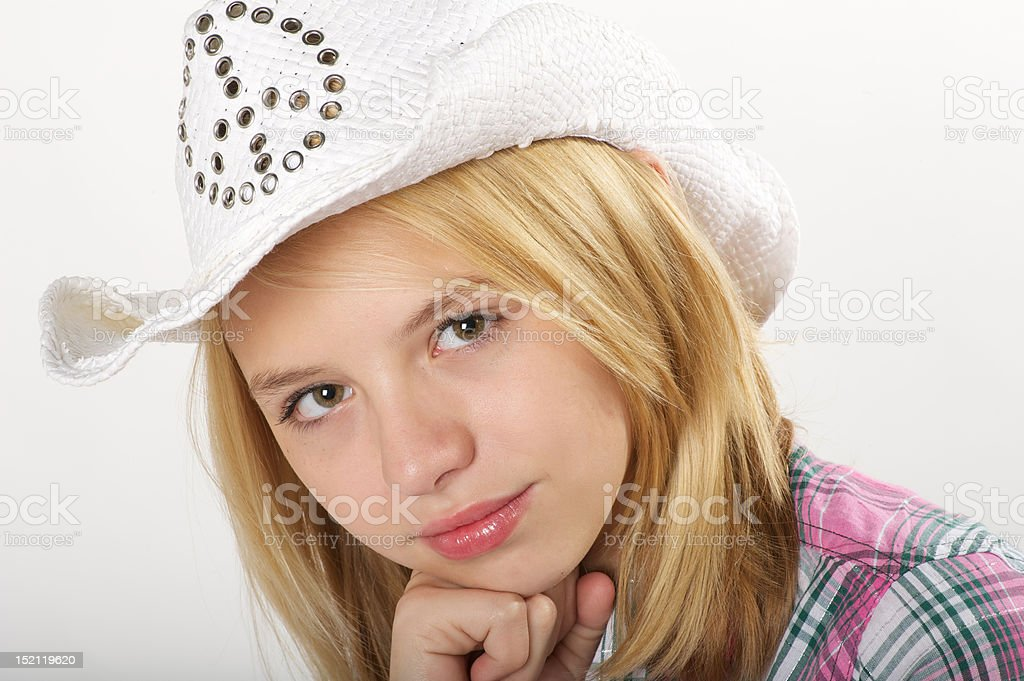 Young girl with cowboy hat stock photo