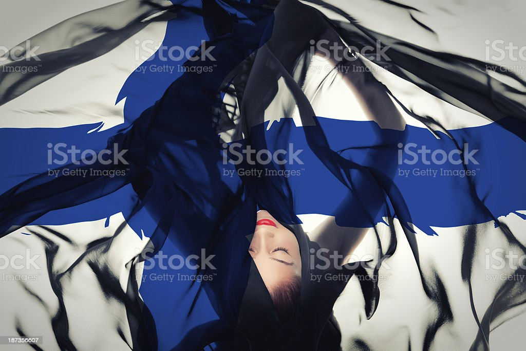 Young girl with Finnish Flag stock photo