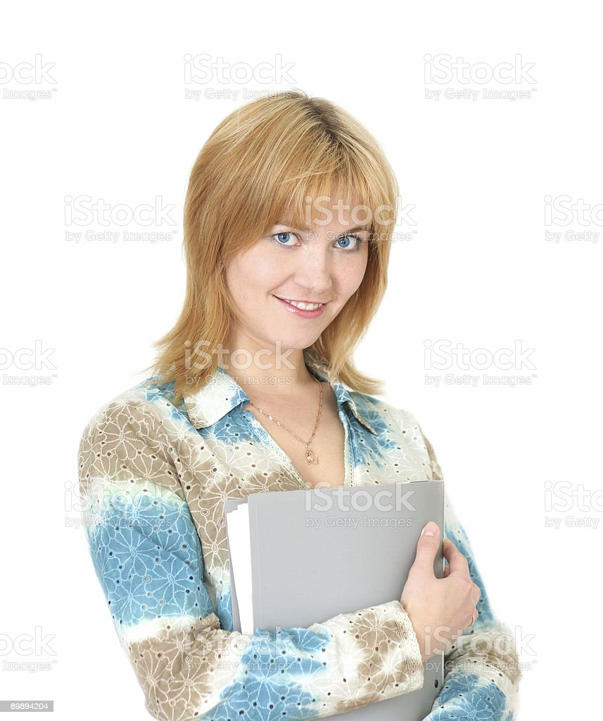 Chica joven con la carpeta foto de stock libre de derechos