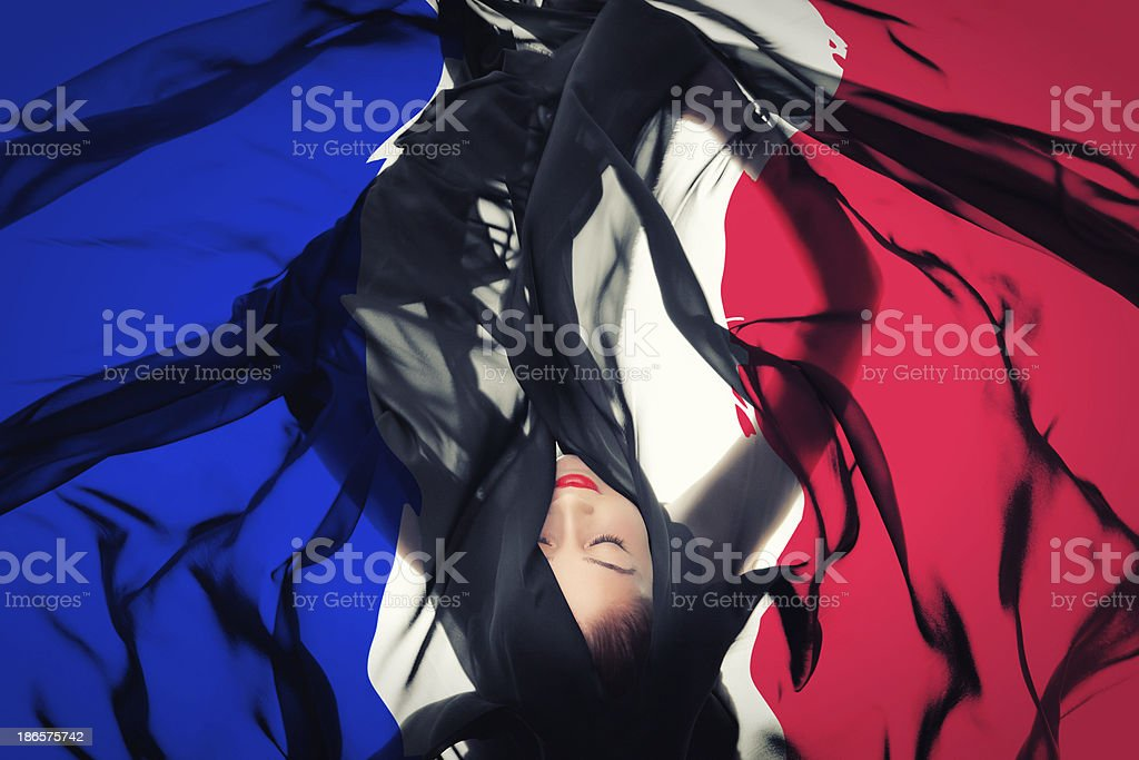 Young girl with French Flag stock photo