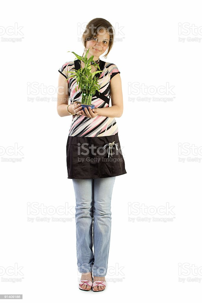 Young girl with home plant bamboo royalty-free stock photo