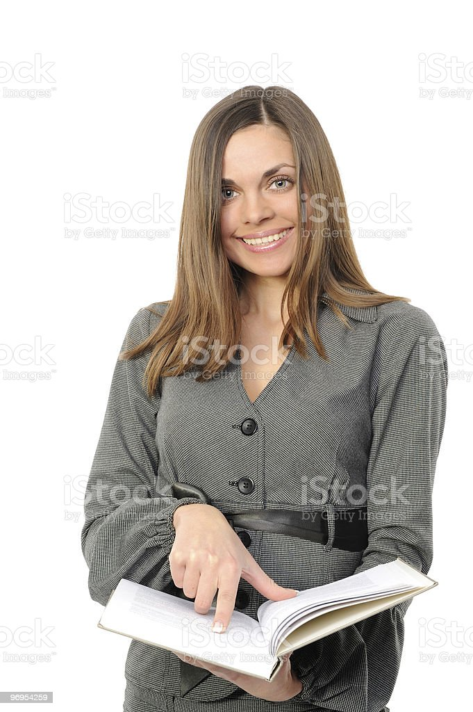young girl with long hair and the book royalty-free stock photo