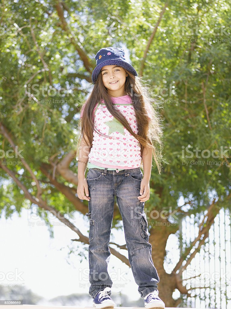 Young girl with long hair smiling royalty-free stock photo