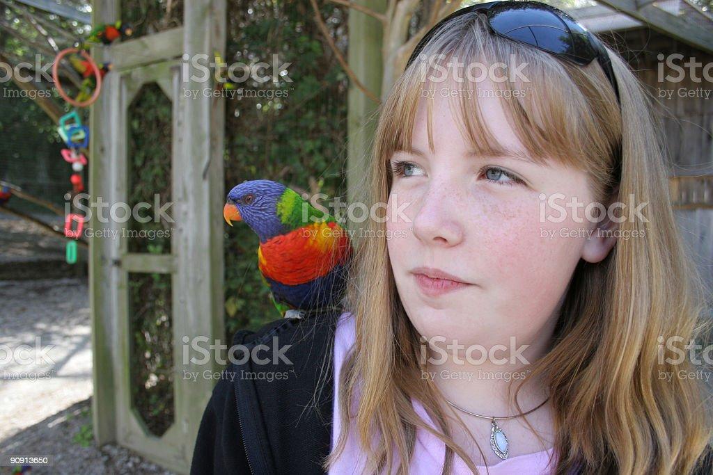 Young Girl with Lorikeet stock photo