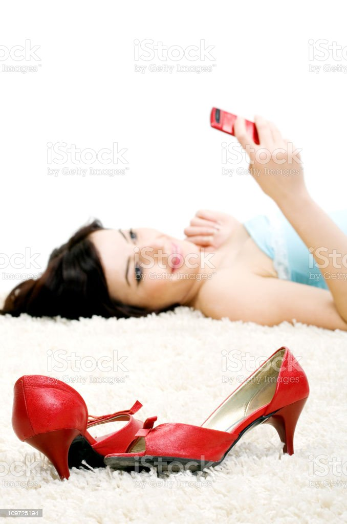Young girl with mobile phone royalty-free stock photo