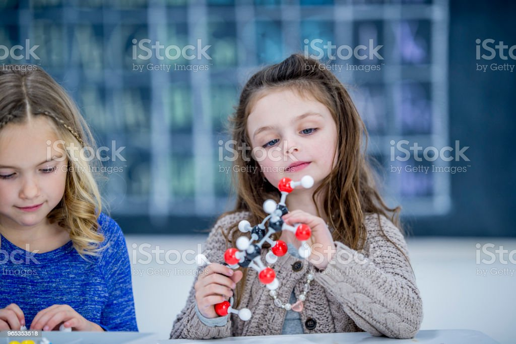 Young Girl With Molecular Model royalty-free stock photo