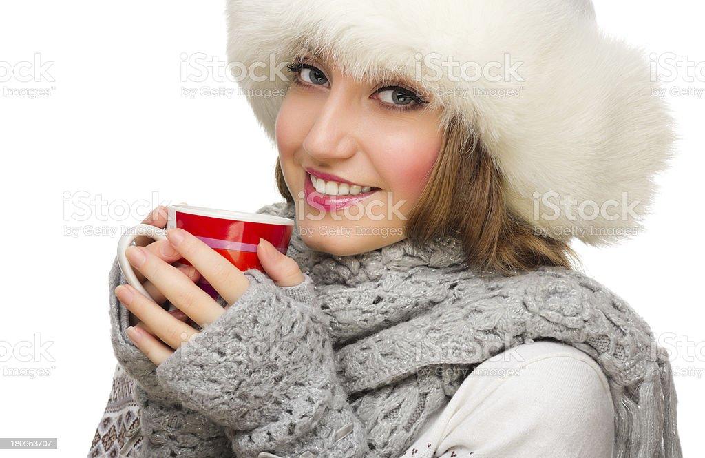 Young girl with mug royalty-free stock photo