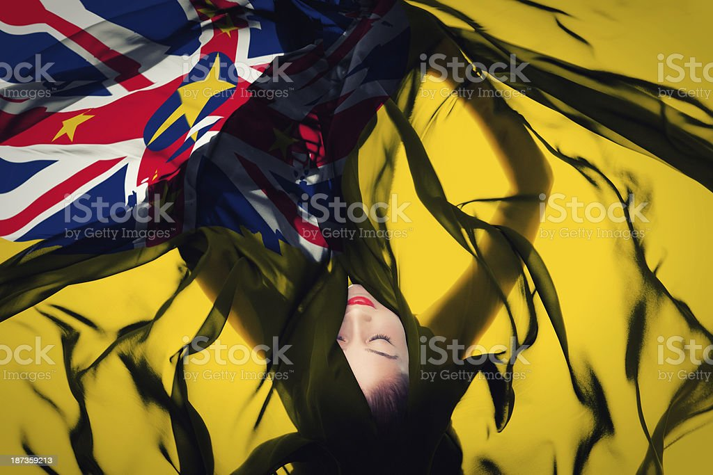 Young girl with Niue flag stock photo