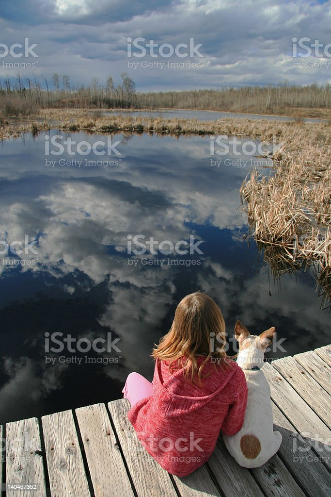 Young Girl with Pet Dog royalty-free stock photo