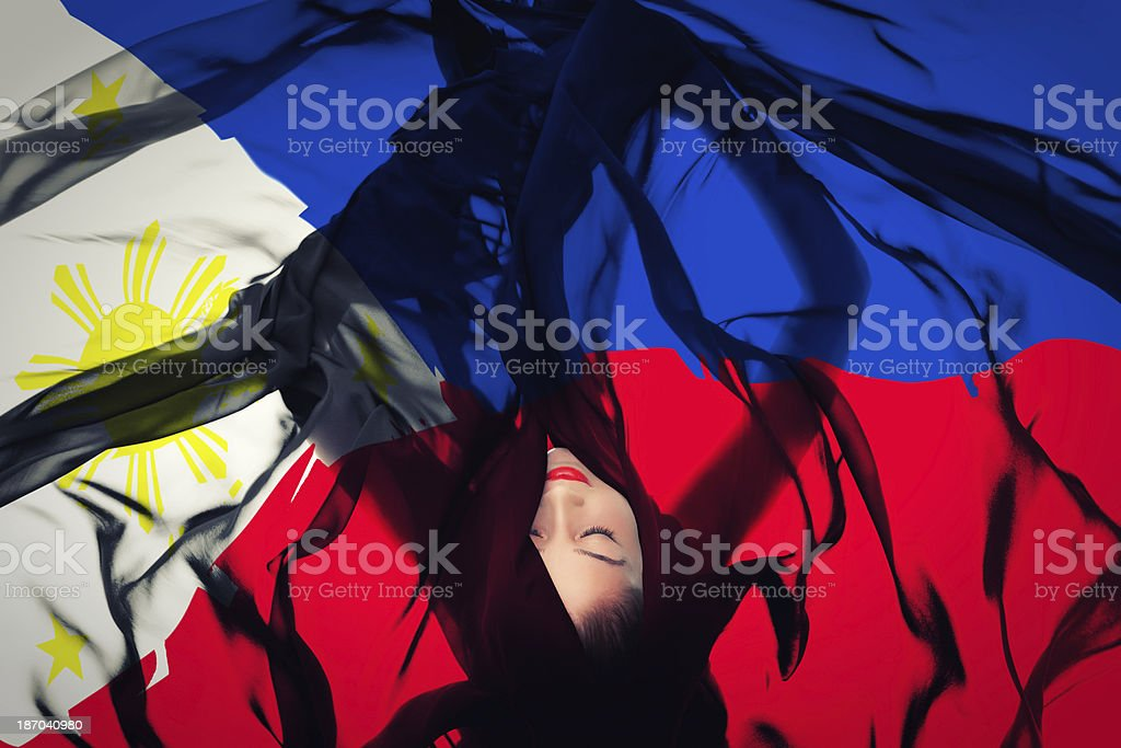 Young girl with Philippines flag stock photo