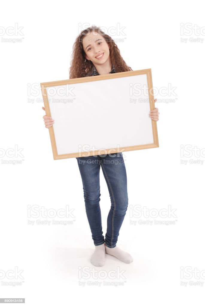 Young girl with picture frame stock photo