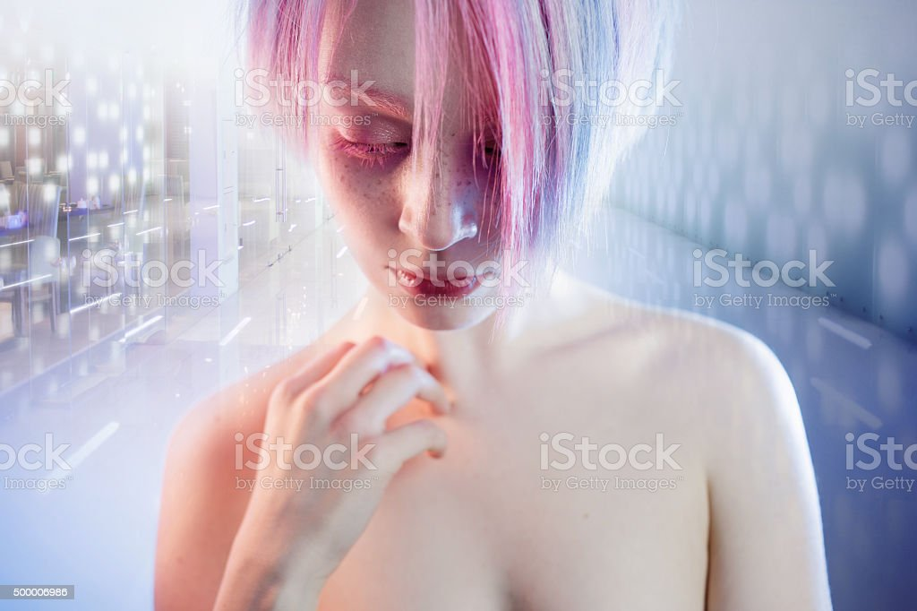 young girl with pink eyes and hair, like a doll stock photo