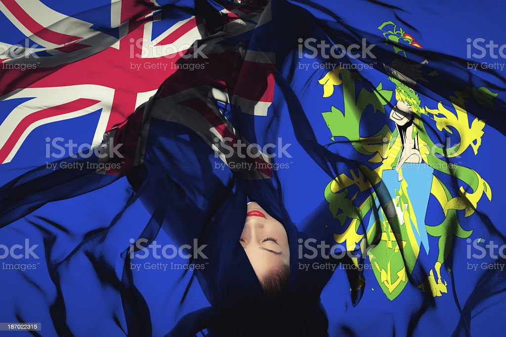Young girl with Pitcairn Islands flag royalty-free stock photo