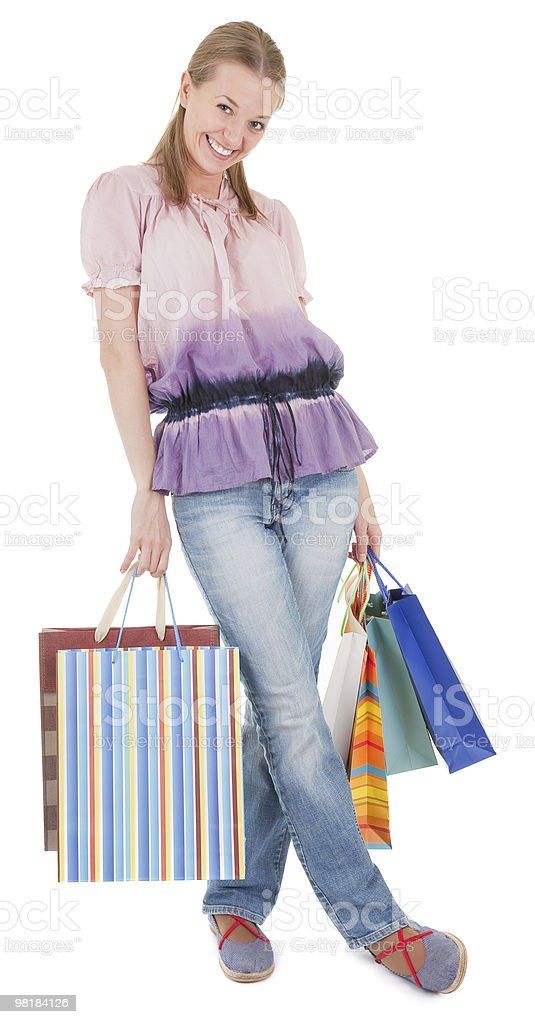 young girl with purchases royalty-free stock photo