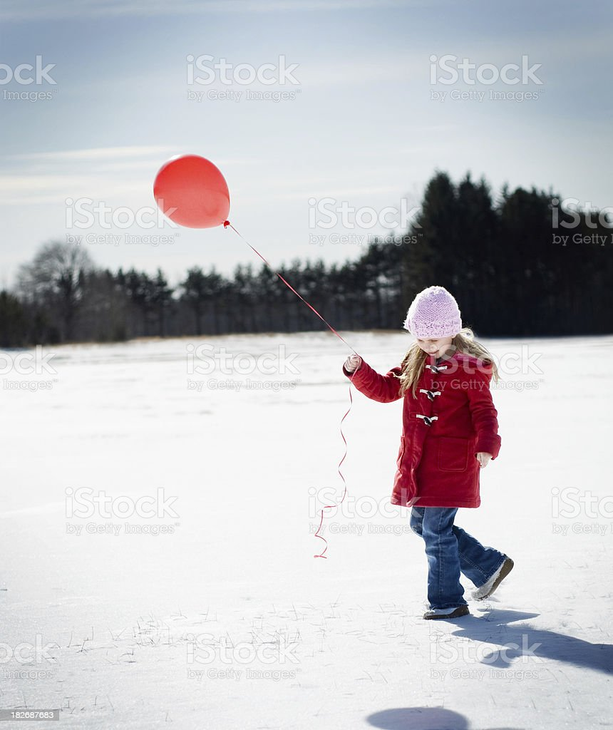 Young Girl with Red Balloon royalty-free stock photo