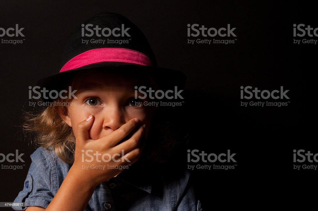 Young Girl with Shocked Expression stock photo