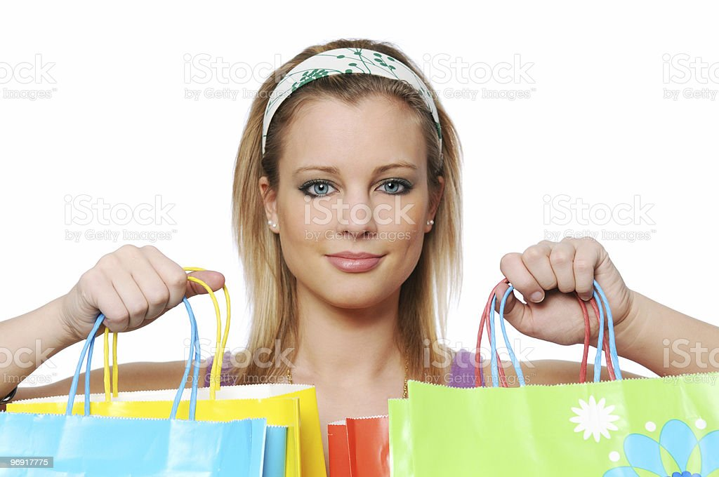 Young girl with shopping bags royalty-free stock photo