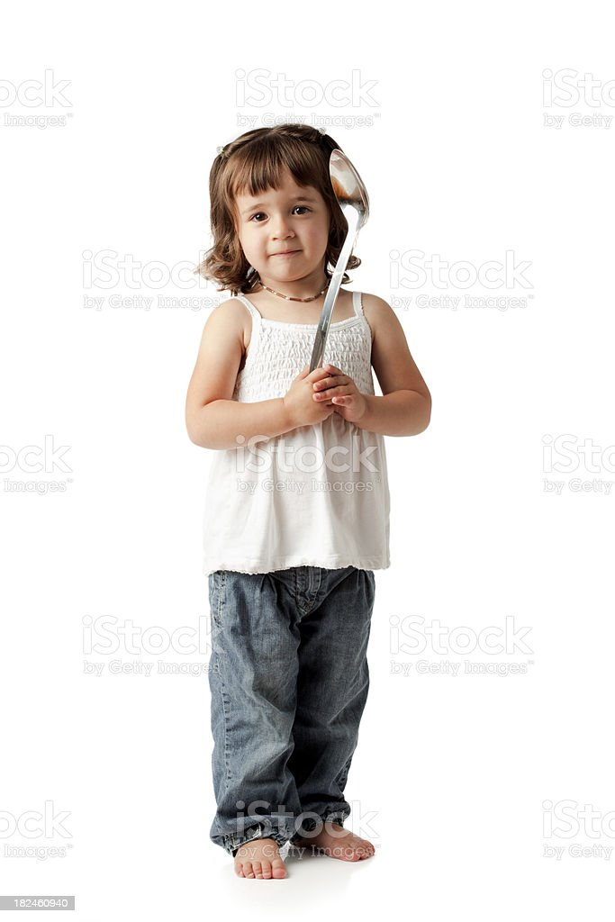 Young Girl with Silver Spoon on White royalty-free stock photo