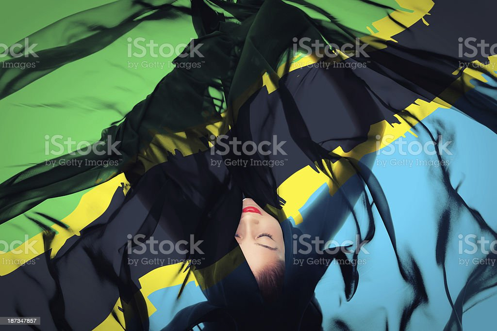 Young girl with Tanzanian flag stock photo