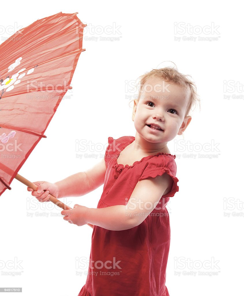 Young girl with umbrella on white background royalty-free stock photo
