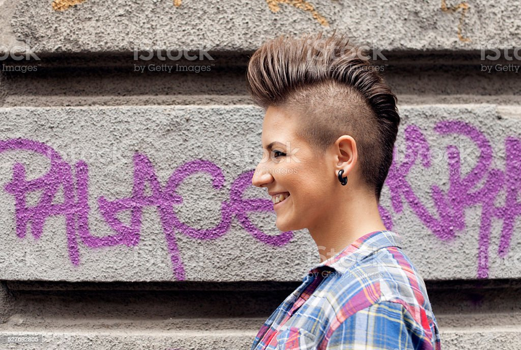 Young Girl With Urban Haircut stock photo