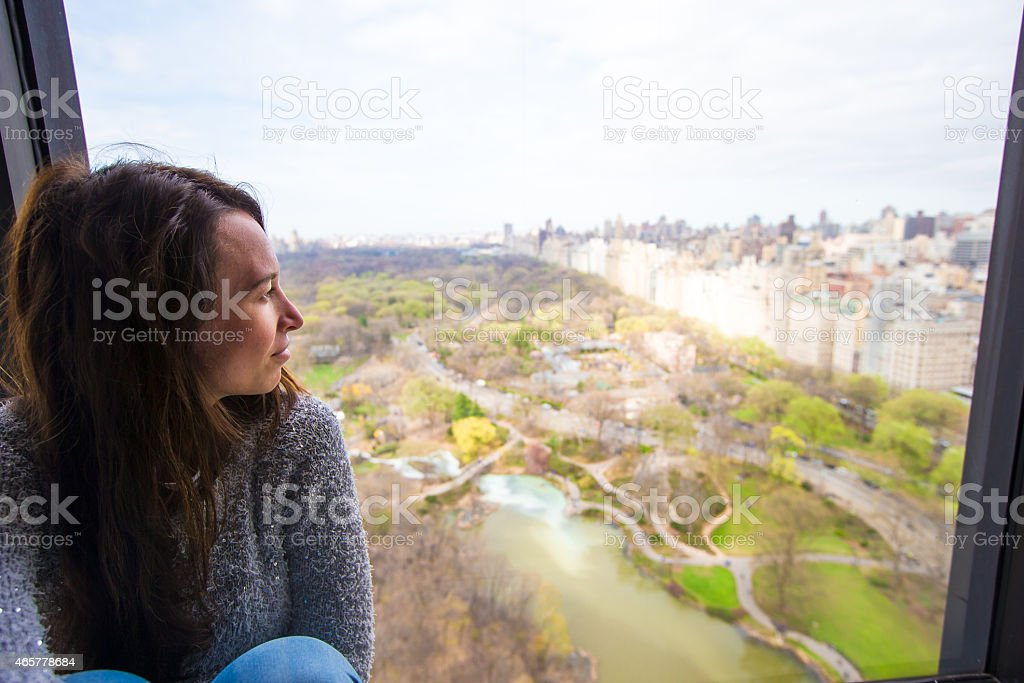 Young girl with view of Central Park stock photo