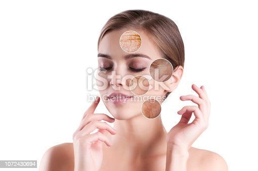 istock young girl wrinkles before and after, arrow 1072430694