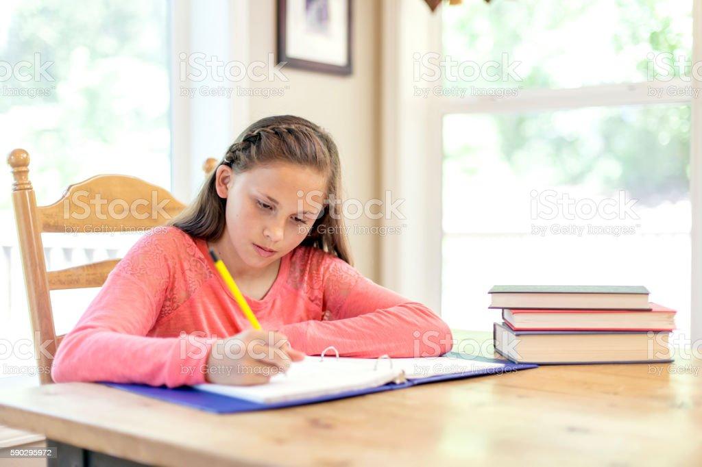 Young girl writing an essay royaltyfri bildbanksbilder