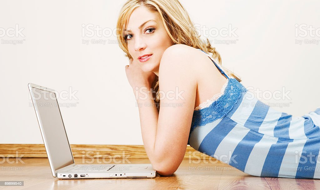 Young Girl/Laptop royalty-free stock photo
