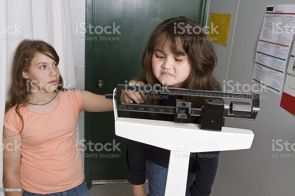 Young girls anguishing over weight stock photo