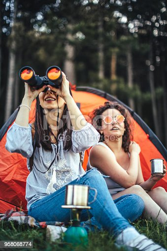 istock Young girls camping 958068774