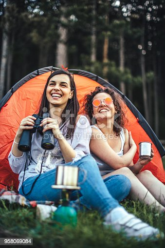 istock Young girls camping 958069084
